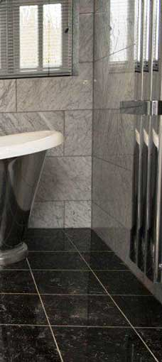 modern black granite tile in bathroom Adelaide