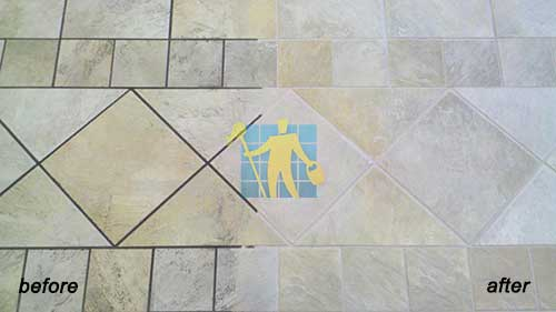 before and after repairing and cleaning dirty limestone tile in Adelaide