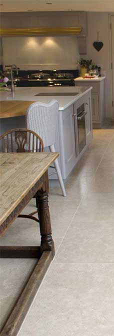 morden limestone tile in kitchen floor in Adelaide