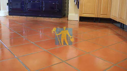 terracotta floor in room after repairng cleaning