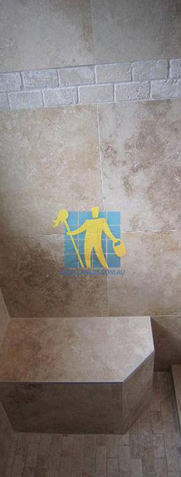travertine tiles floor wall bathroom natural stone shower with seat Gawler